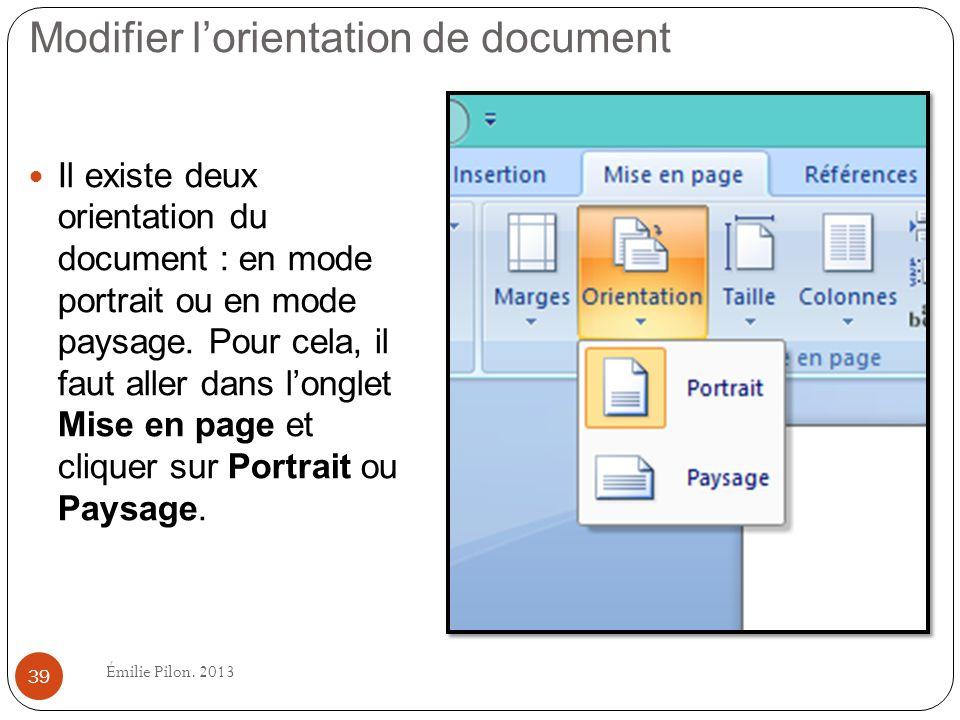 Modifier l'orientation de document