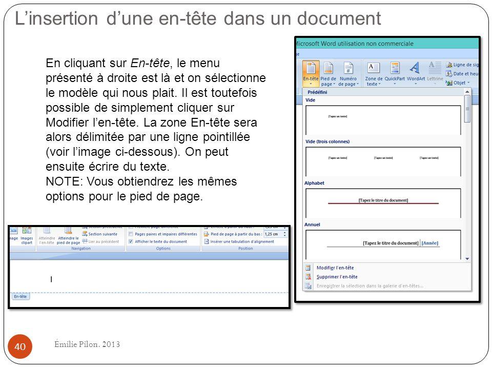 L'insertion d'une en-tête dans un document