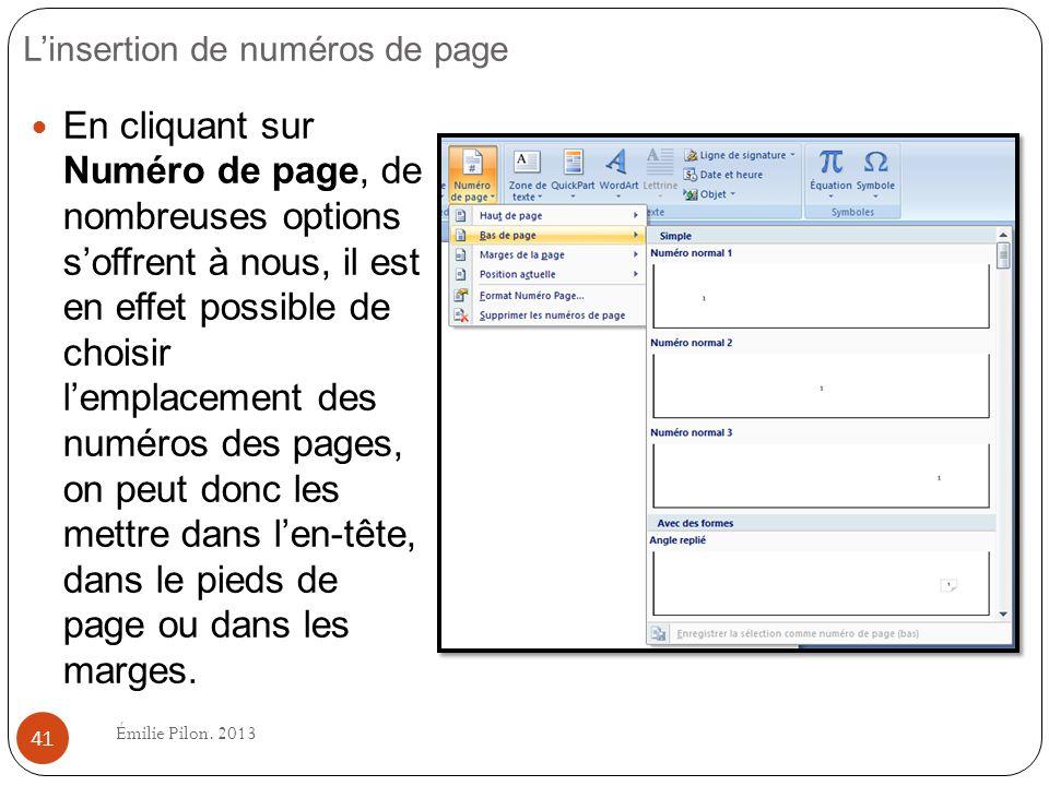 L'insertion de numéros de page