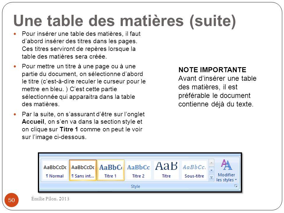 Une table des matières (suite)