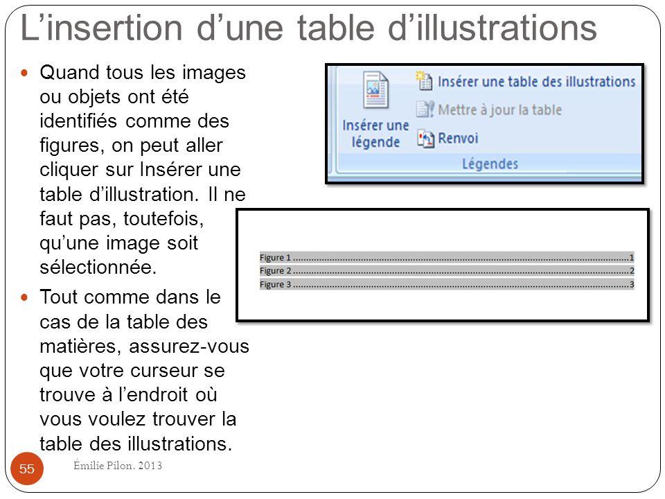 L'insertion d'une table d'illustrations