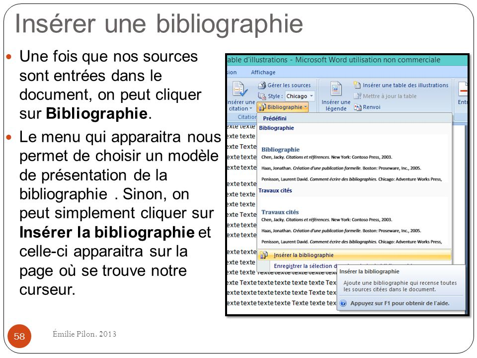 Insérer une bibliographie