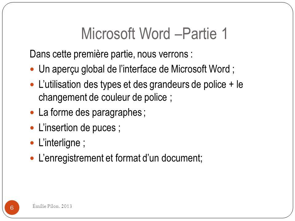 Microsoft Word –Partie 1