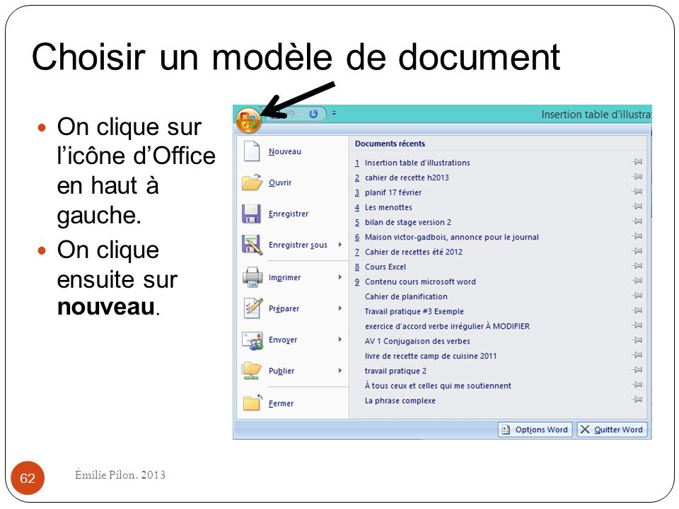 Choisir un modèle de document
