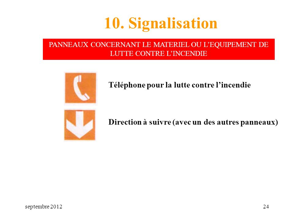 10. Signalisation Téléphone pour la lutte contre l'incendie