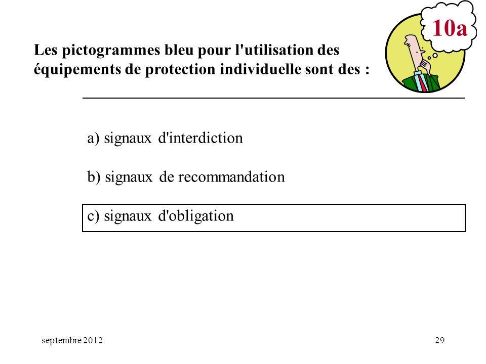 mars 17 10a. Les pictogrammes bleu pour l utilisation des équipements de protection individuelle sont des :
