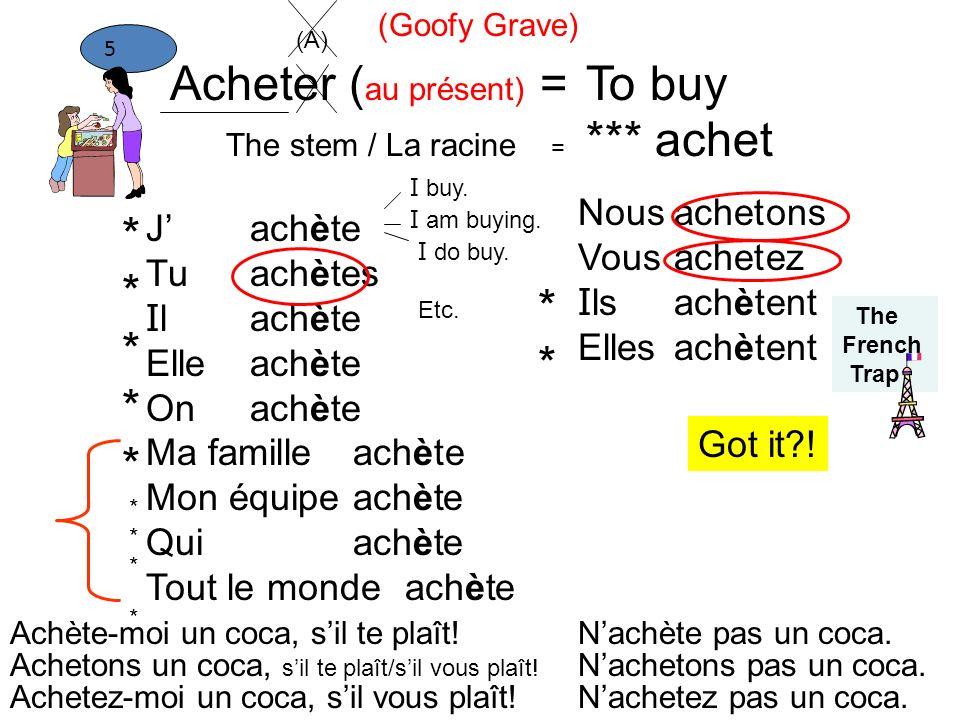 Acheter (au présent) = To buy *** achet * * Nous Vous Ils Elles achet