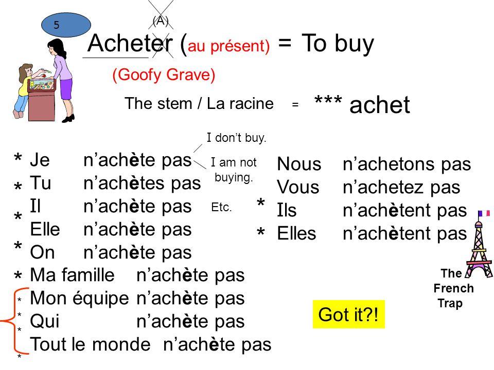 Acheter (au présent) = To buy *** achet * * Je Tu Il Elle On