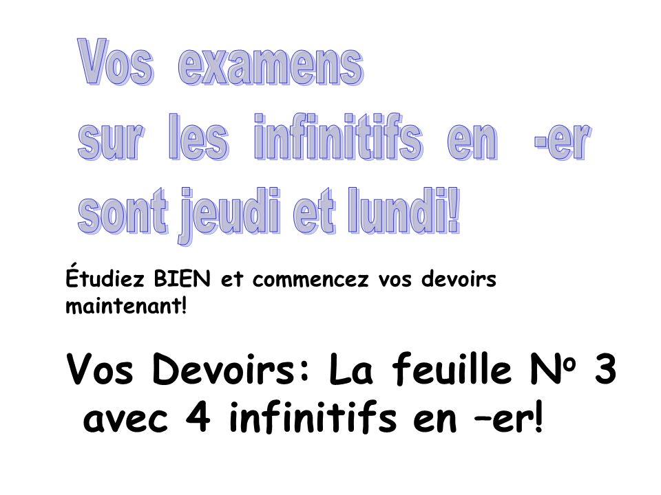 Vos Devoirs: La feuille No 3 avec 4 infinitifs en –er!