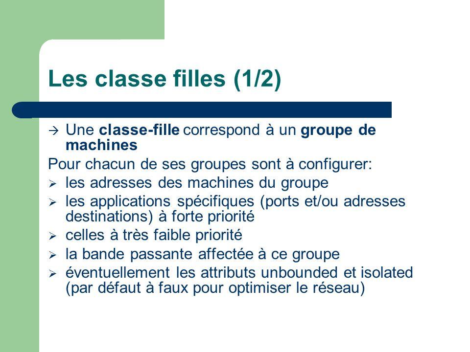 Les classe filles (1/2) Une classe-fille correspond à un groupe de machines. Pour chacun de ses groupes sont à configurer: