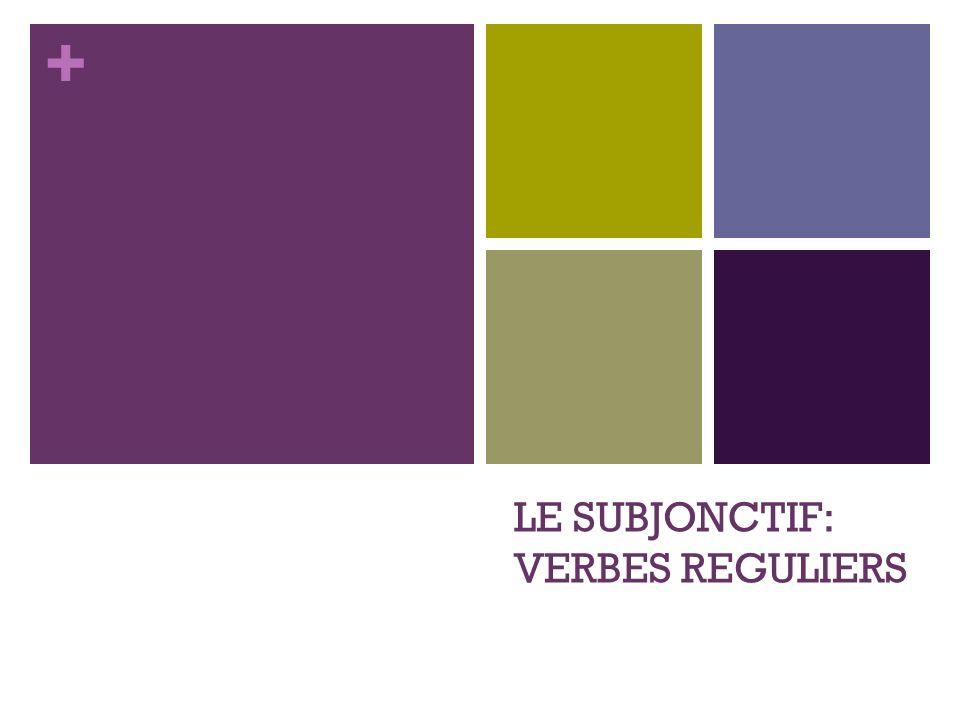 LE SUBJONCTIF: VERBES REGULIERS