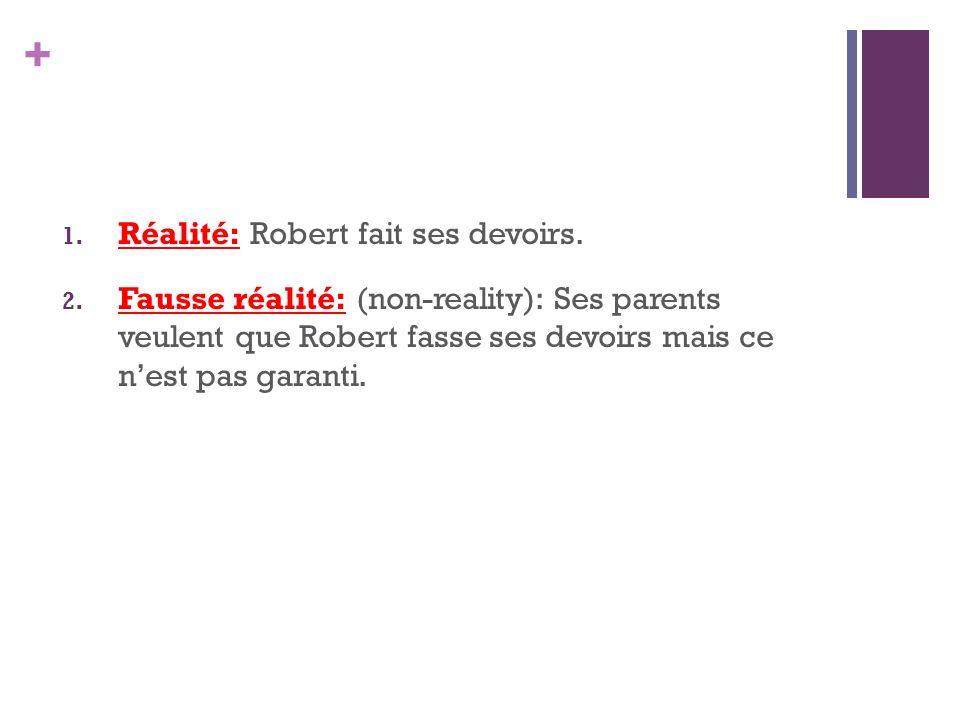 Réalité: Robert fait ses devoirs.