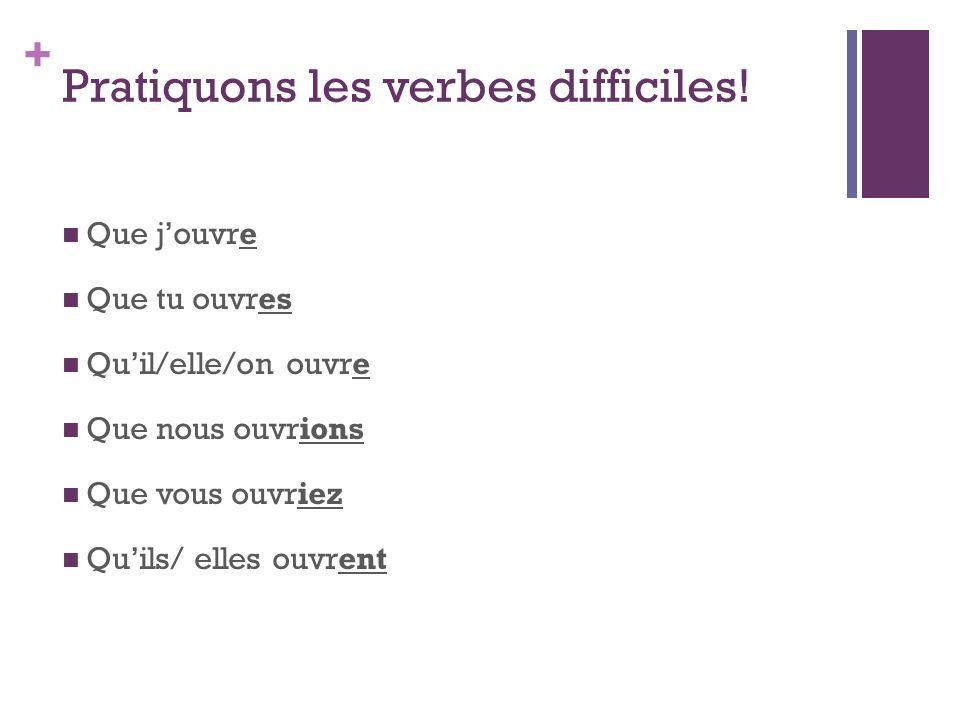 Pratiquons les verbes difficiles!