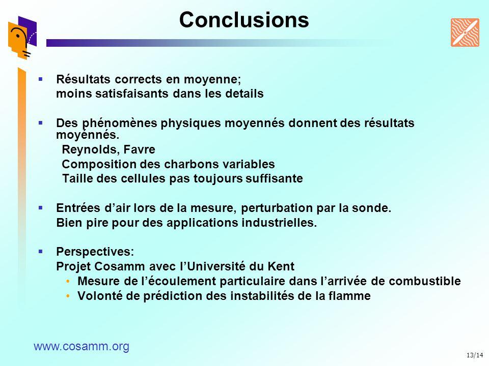Conclusions Résultats corrects en moyenne;