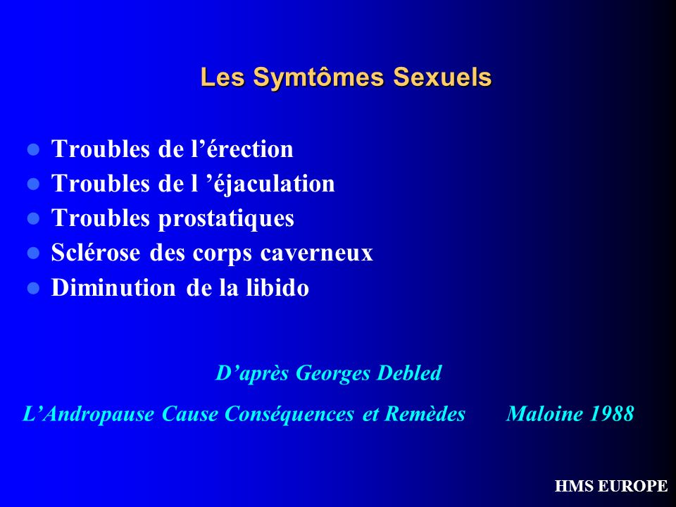 Troubles de l'érection Troubles de l 'éjaculation