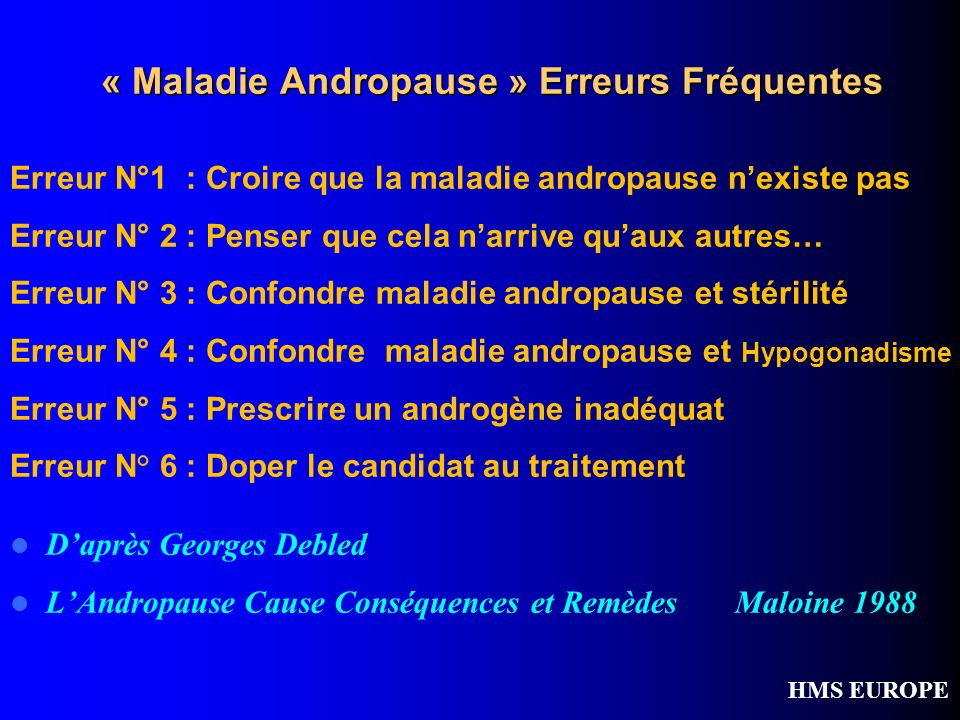 « Maladie Andropause » Erreurs Fréquentes