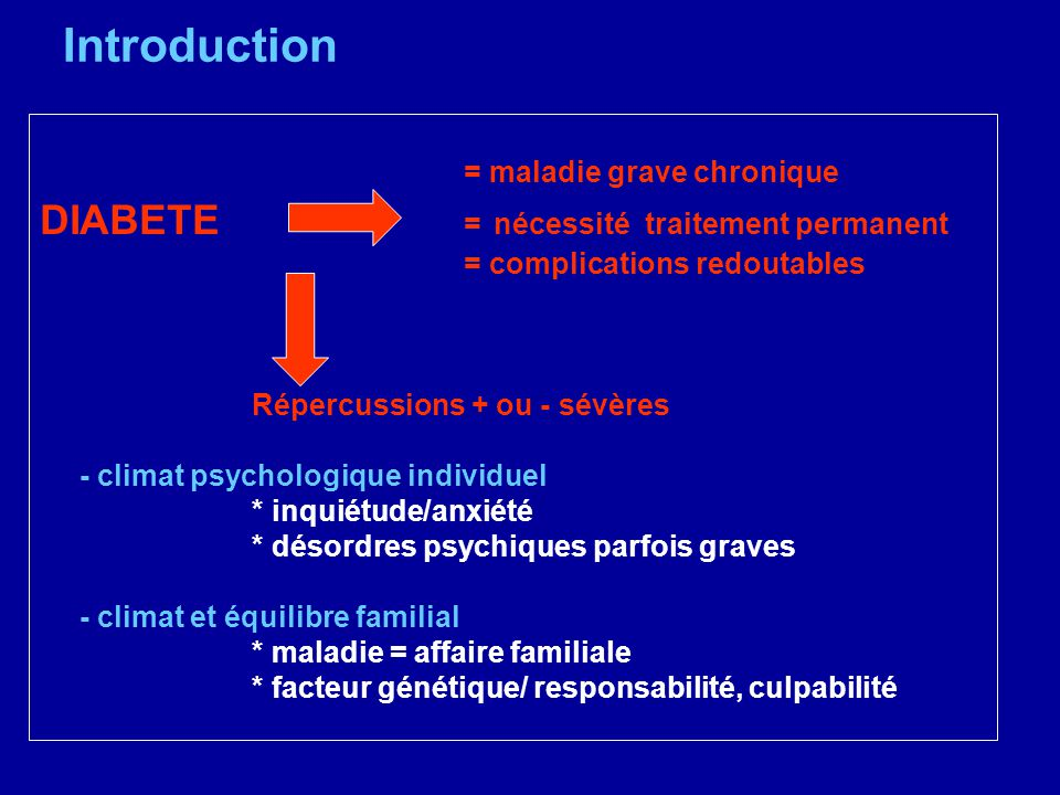 Introduction DIABETE = nécessité traitement permanent