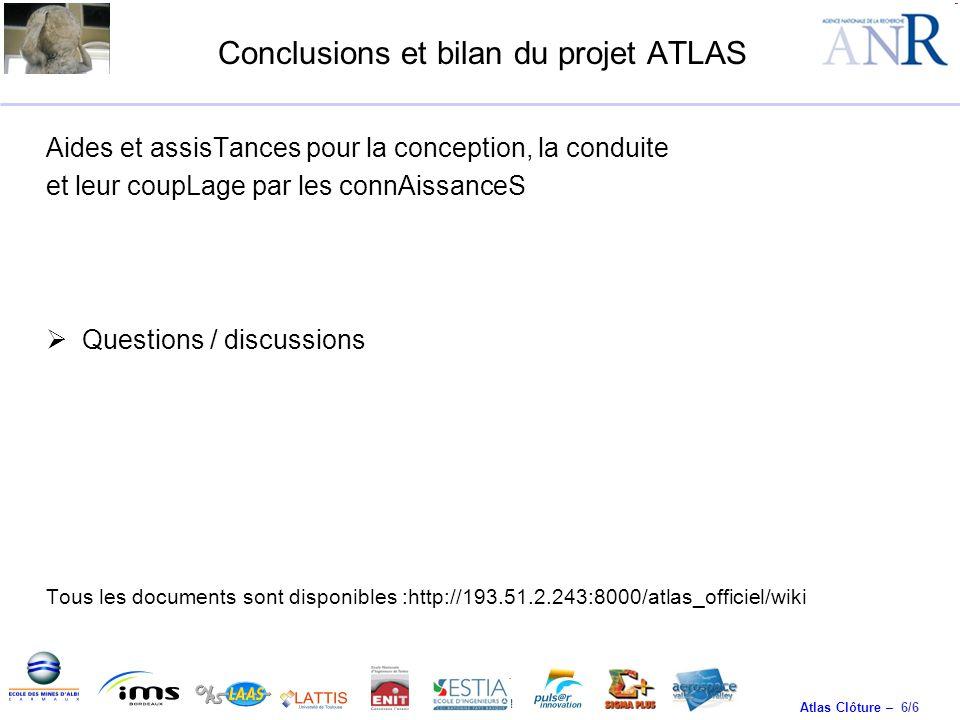 Conclusions et bilan du projet ATLAS