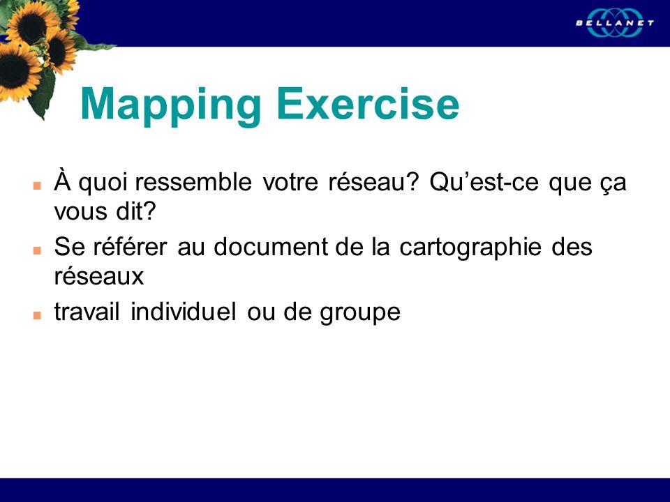 06/21/08 Mapping Exercise. À quoi ressemble votre réseau Qu'est-ce que ça vous dit Se référer au document de la cartographie des réseaux.