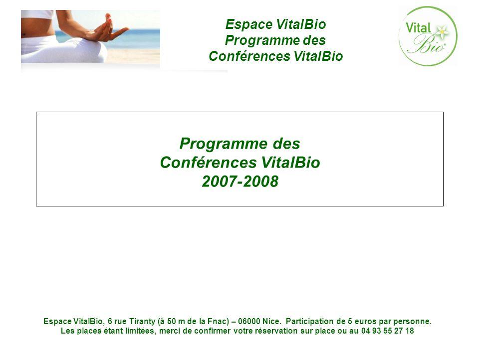 Programme des Conférences VitalBio 2007-2008