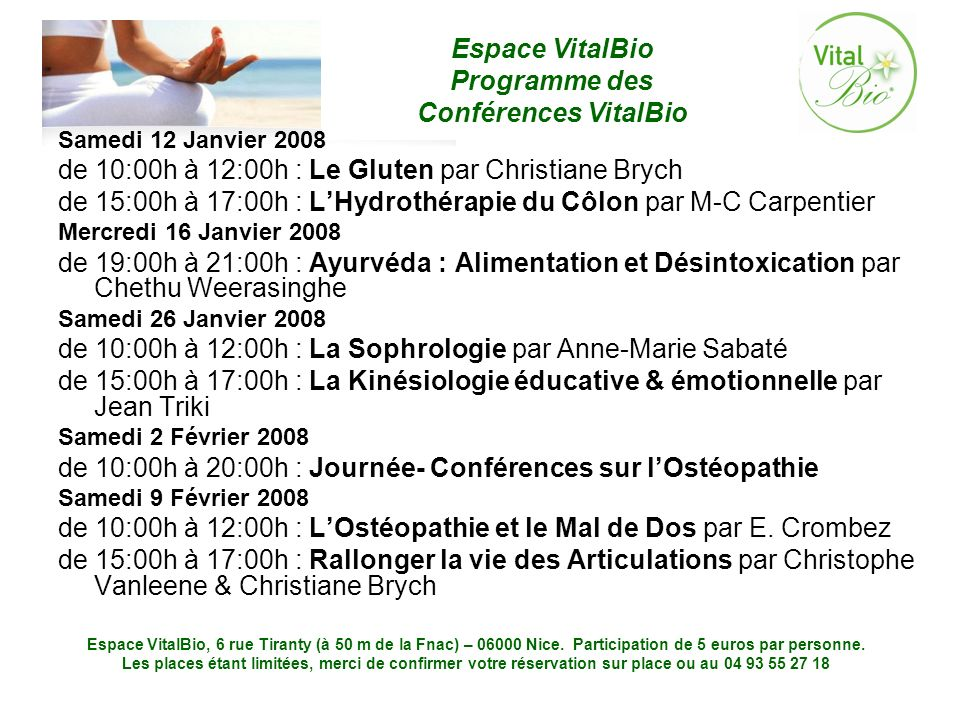 de 10:00h à 12:00h : Le Gluten par Christiane Brych