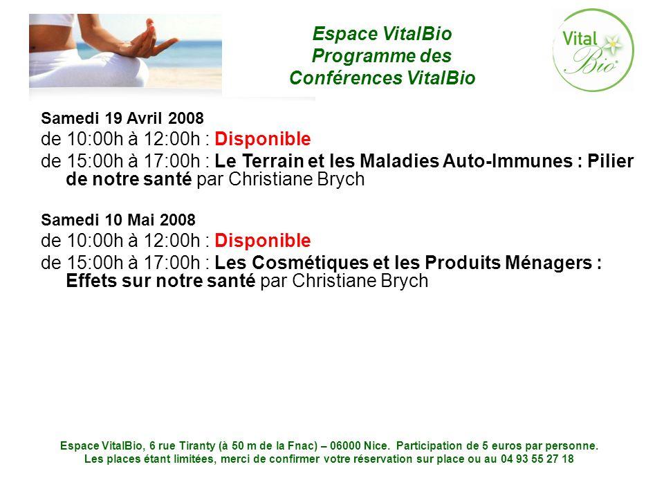 Samedi 19 Avril 2008 de 10:00h à 12:00h : Disponible.
