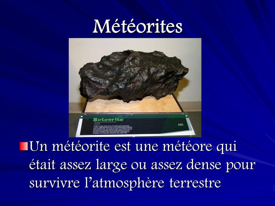 Météorites Un météorite est une météore qui était assez large ou assez dense pour survivre l'atmosphère terrestre.