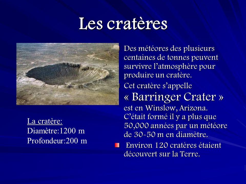 Les cratères Des météores des plusieurs centaines de tonnes peuvent survivre l'atmosphère pour produire un cratère.