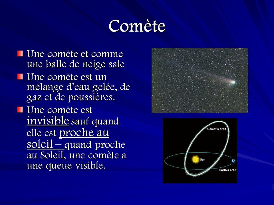 Comète Une comète et comme une balle de neige sale