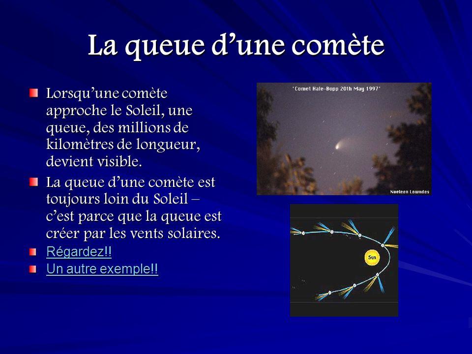 La queue d'une comète Lorsqu'une comète approche le Soleil, une queue, des millions de kilomètres de longueur, devient visible.