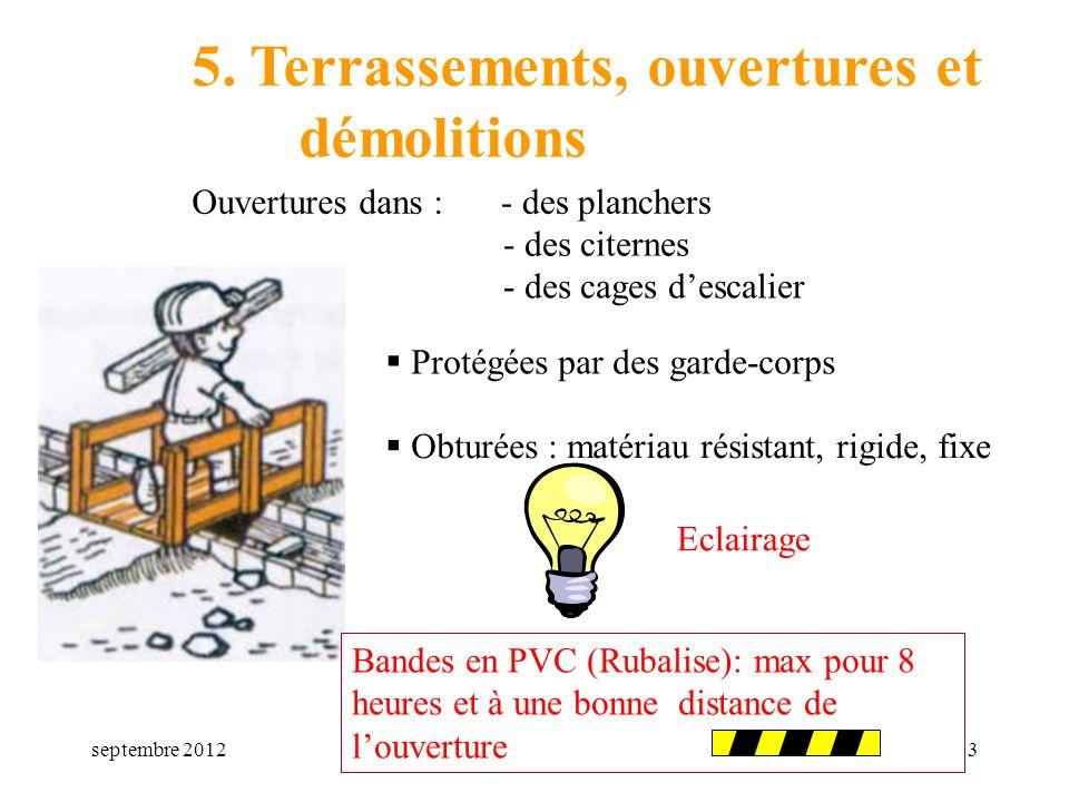 5. Terrassements, ouvertures et démolitions