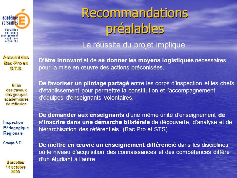 Recommandations préalables