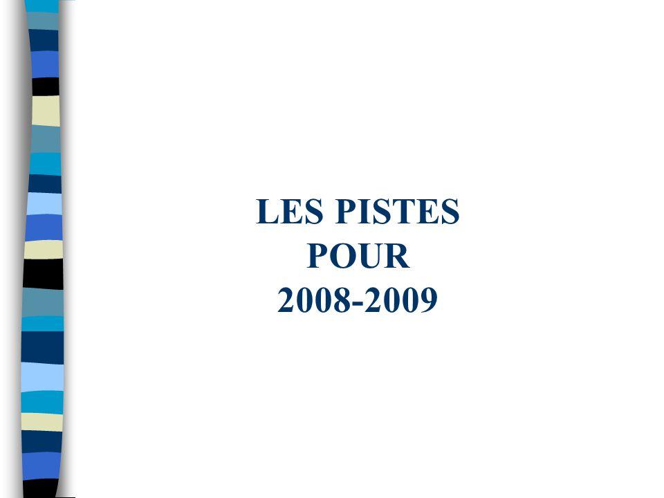 LES PISTES POUR 2008-2009