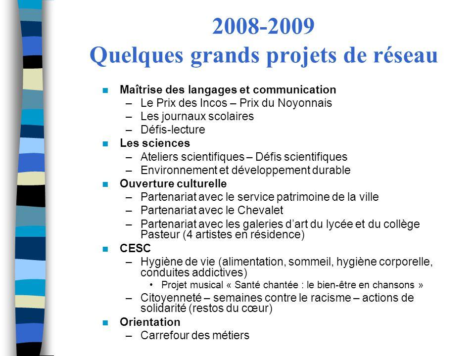 2008-2009 Quelques grands projets de réseau