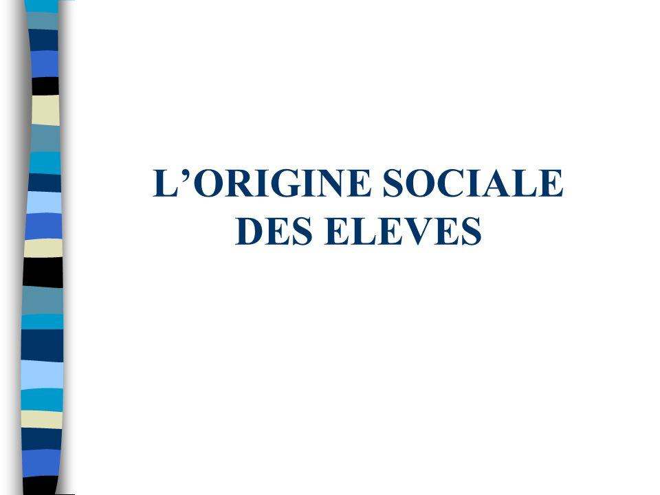 L'ORIGINE SOCIALE DES ELEVES