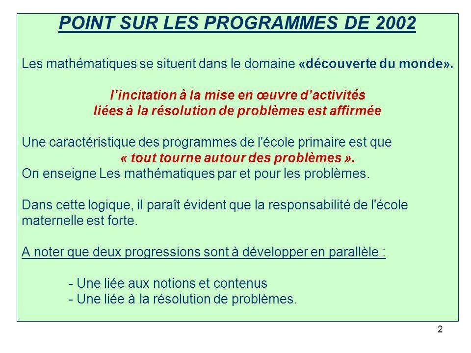 POINT SUR LES PROGRAMMES DE 2002