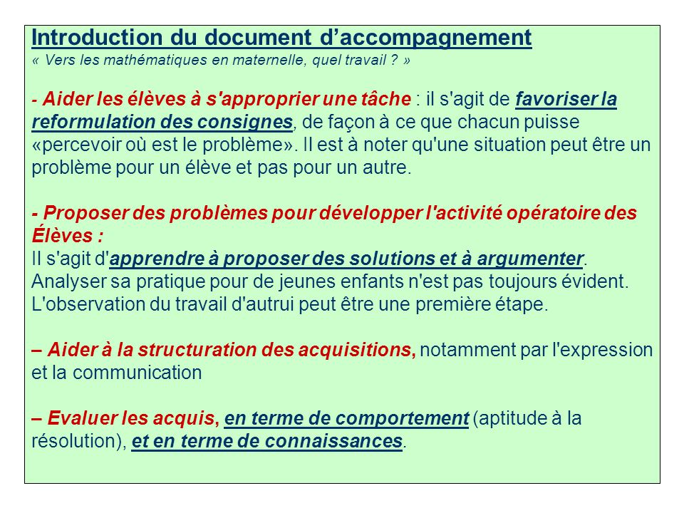 Introduction du document d'accompagnement