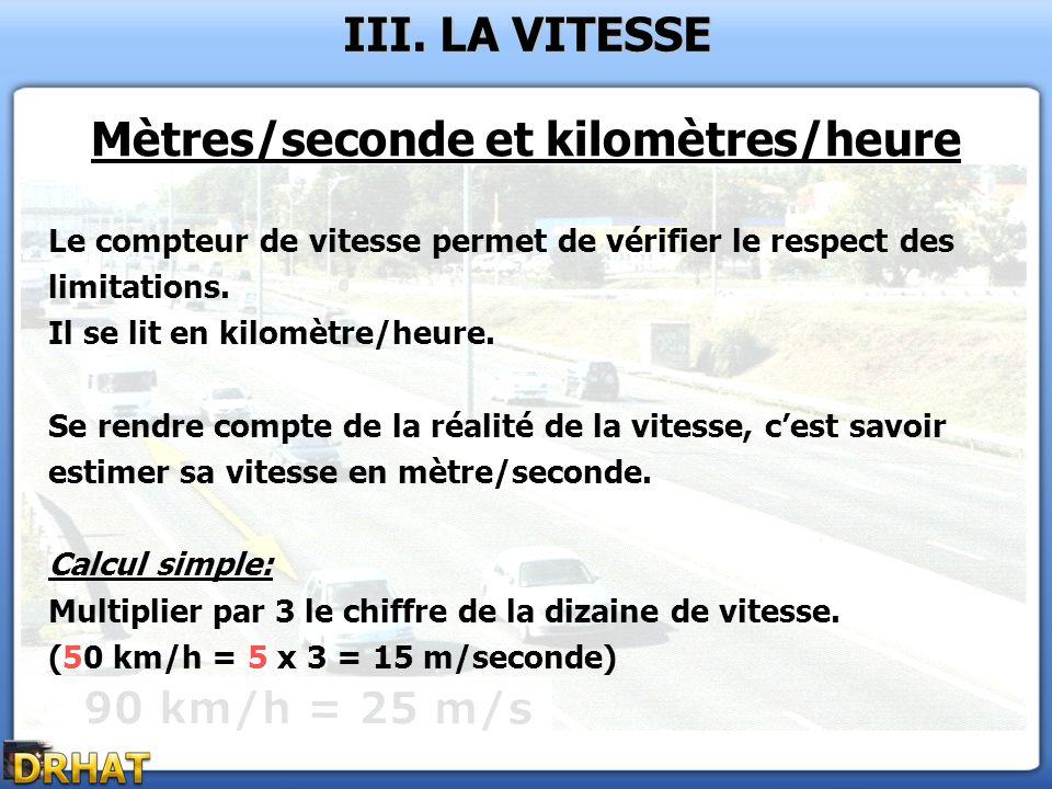 Mètres/seconde et kilomètres/heure