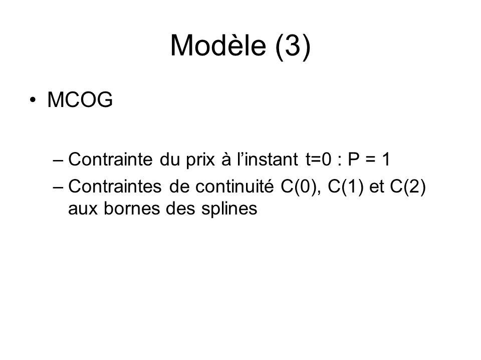 Modèle (3) MCOG Contrainte du prix à l'instant t=0 : P = 1