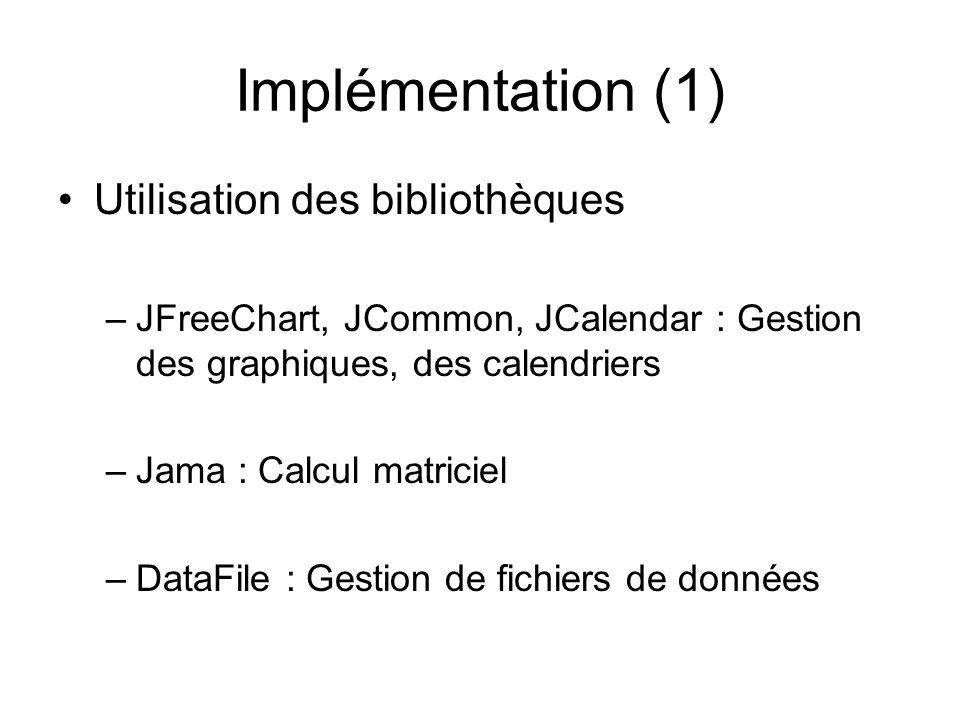 Implémentation (1) Utilisation des bibliothèques