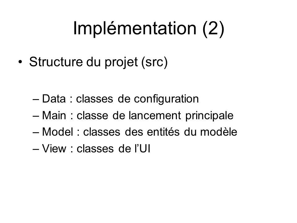 Implémentation (2) Structure du projet (src)