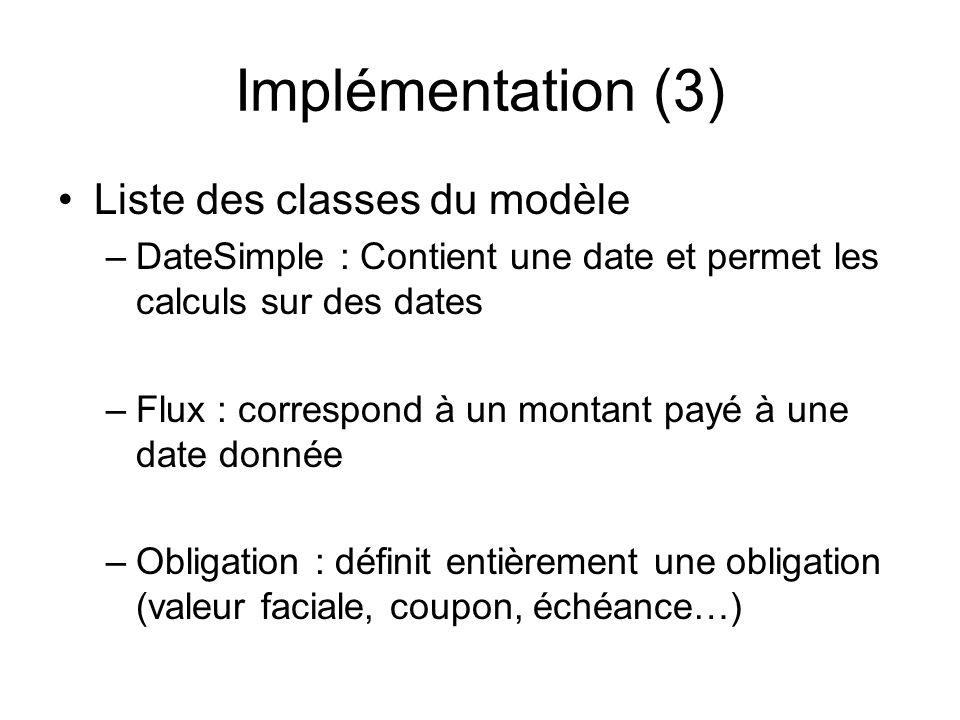 Implémentation (3) Liste des classes du modèle