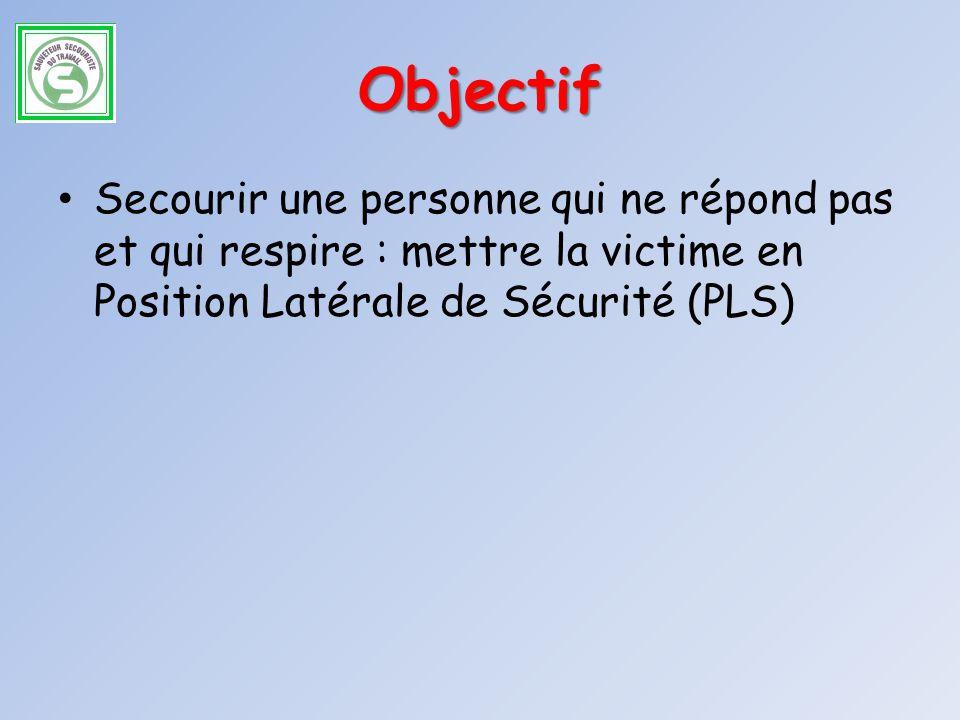 Objectif Secourir une personne qui ne répond pas et qui respire : mettre la victime en Position Latérale de Sécurité (PLS)