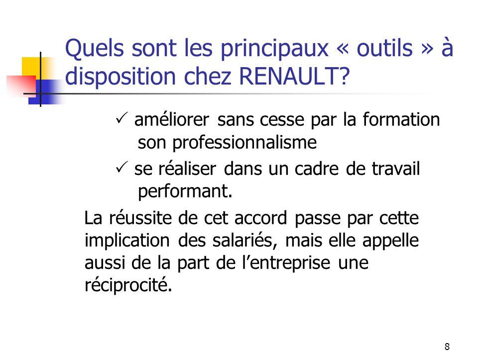 Quels sont les principaux « outils » à disposition chez RENAULT