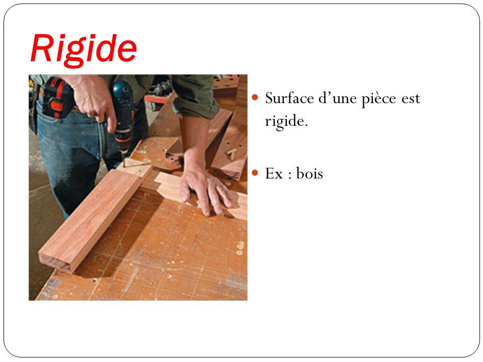 Rigide Surface d'une pièce est rigide. Ex : bois
