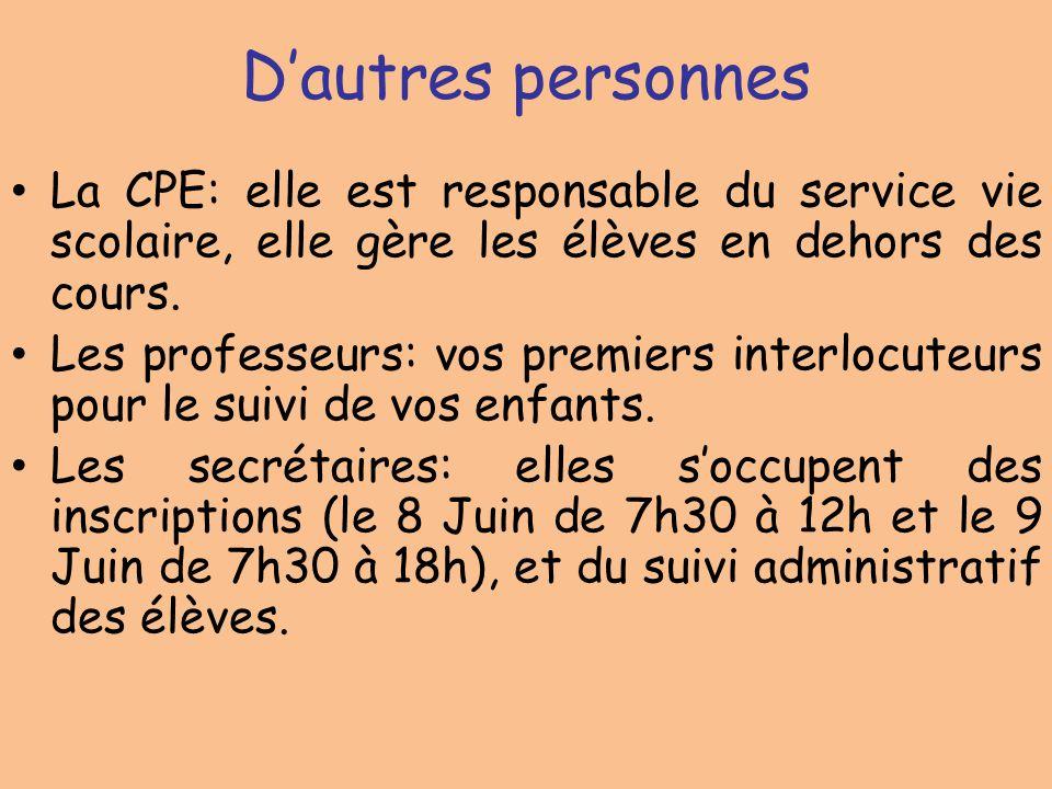 D'autres personnes La CPE: elle est responsable du service vie scolaire, elle gère les élèves en dehors des cours.