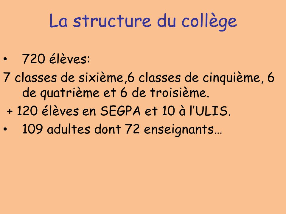 La structure du collège