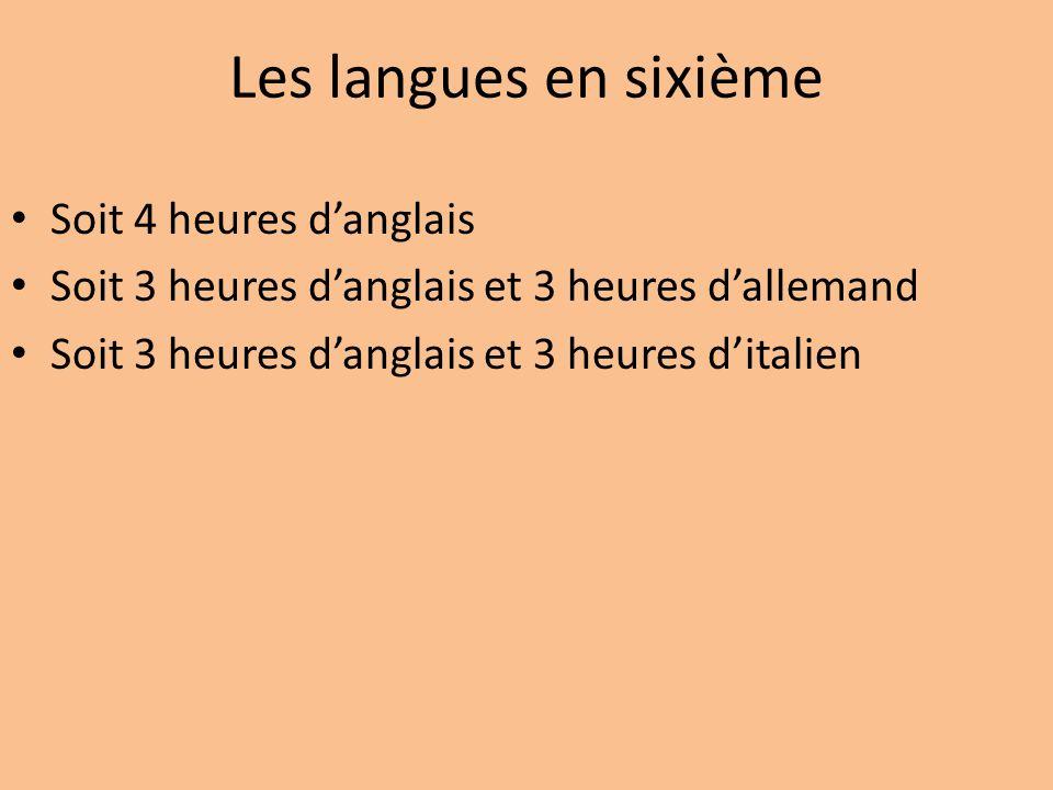 Les langues en sixième Soit 4 heures d'anglais
