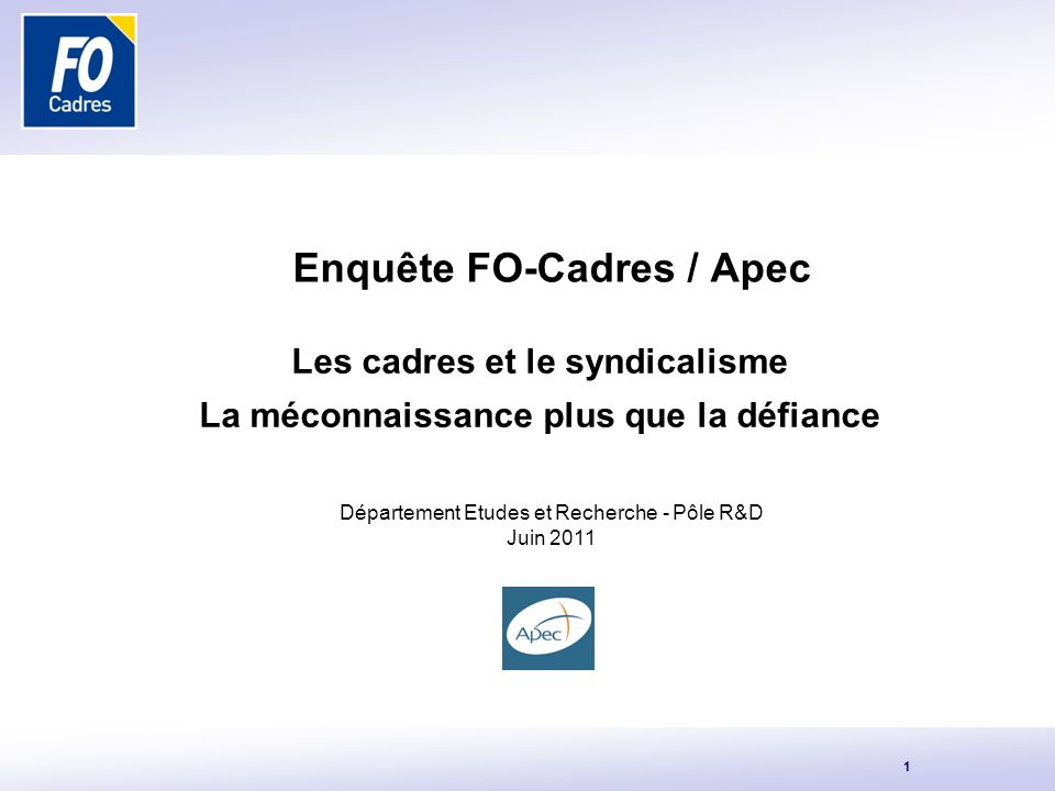 Enquête FO-Cadres / Apec