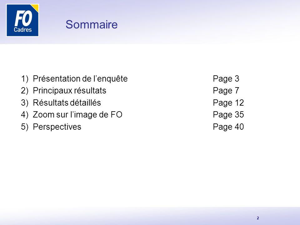 Sommaire Présentation de l'enquête Page 3 Principaux résultats Page 7